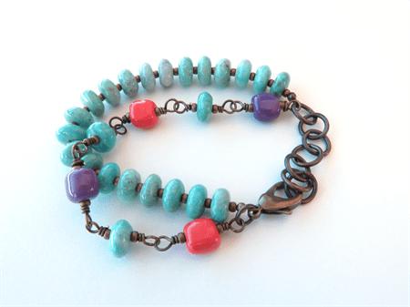 Festival Green Amazonite Bright Colour Beaded Bracelet By