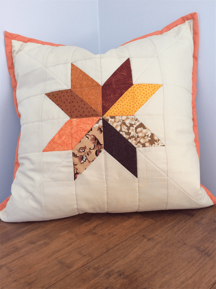 Patchwork Quilted Cushion Cover In Oranges And Browns