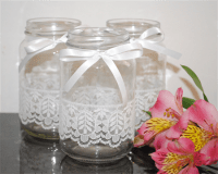 6 x Lace Ribbon Glass Jars Vases Vintage Rustic Chic ...