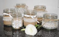 6 x Lace Hessian Burlap Wedding Glass Jars Vases Vintage ...