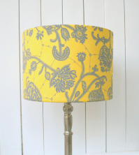 Yellow and grey fabric lampshade drum - table floor or ...