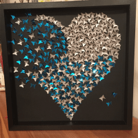 Butterfly Heart frame wall art. Sparkly silver heart in 3D ...