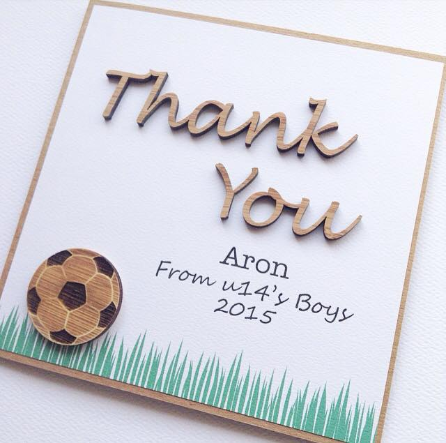 Thank You Coach card teacher sport soccer football personalised
