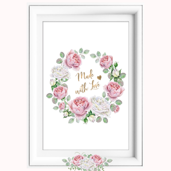 Made with Love Pink White Roses Printable Afresh Art  Design