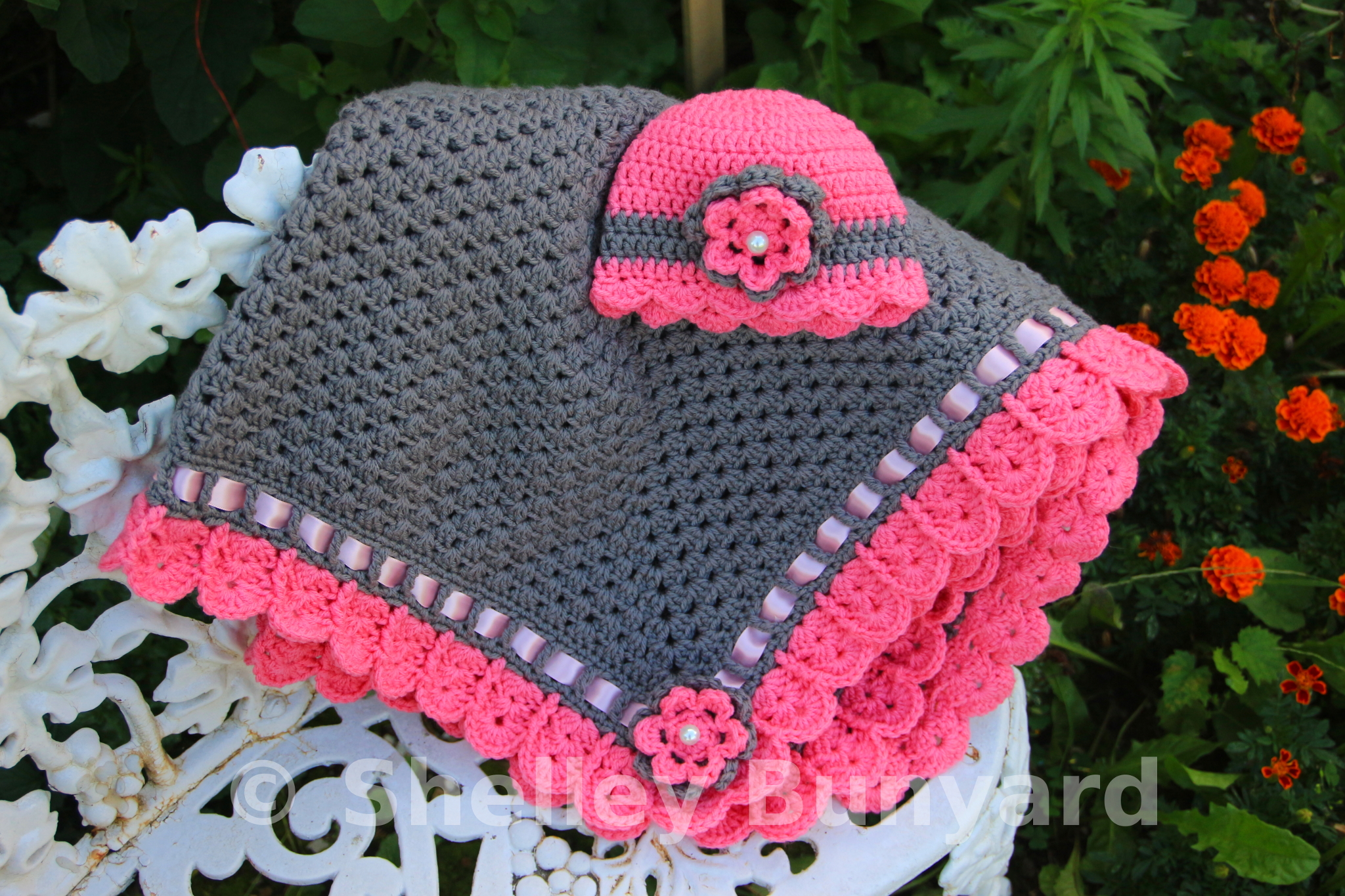 Crocheted Baby Blankets Granny Square And Ribbon Baby Blanket Set Mad Hooker Crochet