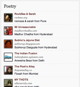 MADHUR CHADHA AMONG TOP 2 POETRY BLOGGERS IN INDIA