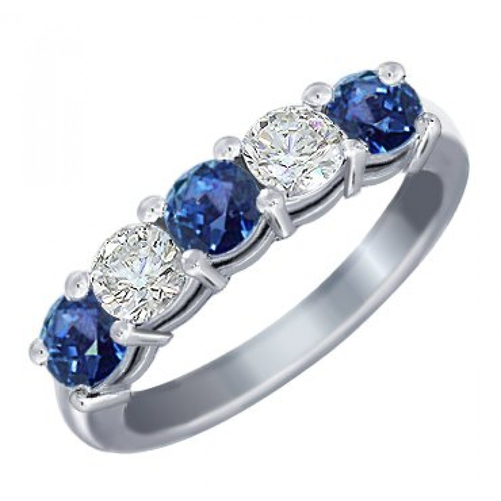 Prong Set Sapphire Wedding Band sapphire wedding band 1 00 Ct Round Cut Diamond And Blue Sapphire Wedding Band Ring