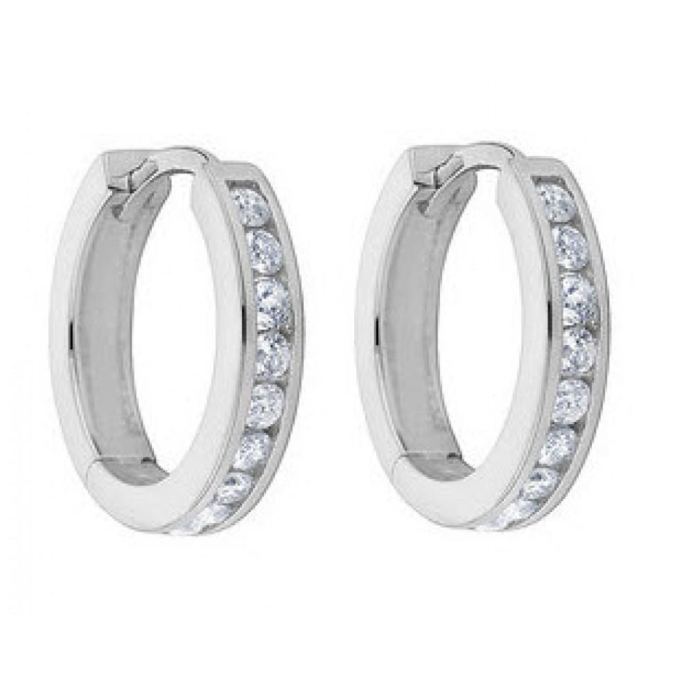 1.00 ct Ladies Round Cut Diamond Hoop Huggie Earrings