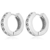 1.20 ct Ladies Round Cut Diamond Hoop Huggie Earrings In ...