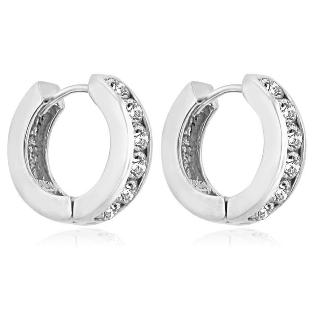 1.20 ct Ladies Round Cut Diamond Hoop Huggie Earrings In