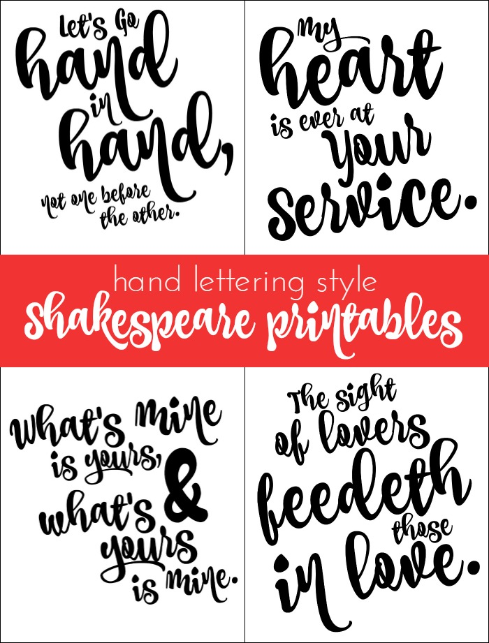 HAND LETTERING STYLE SHAKESPEARE PRINTABLES Mad in Crafts