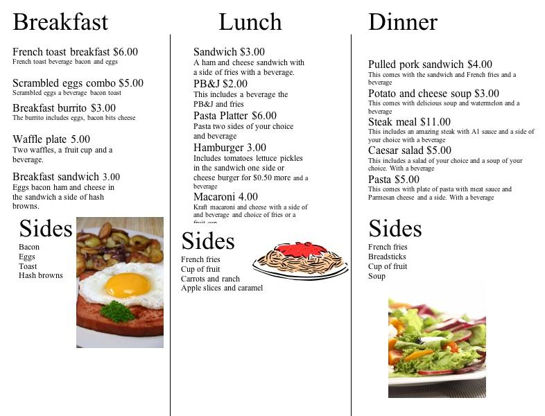 Menu Writing - Lessons - Tes Teach - restaurant menu project examples
