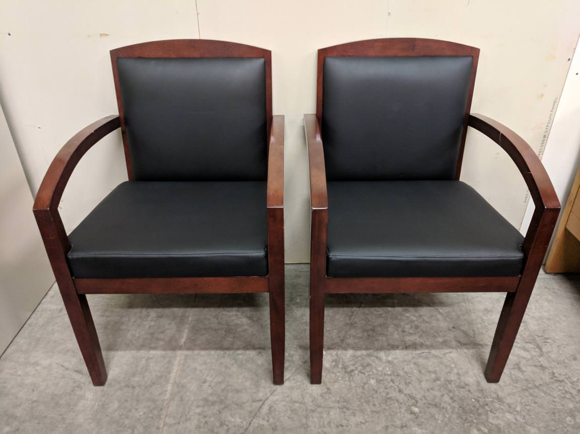 Black Leather Guest Chairs With Solid Wood Frame