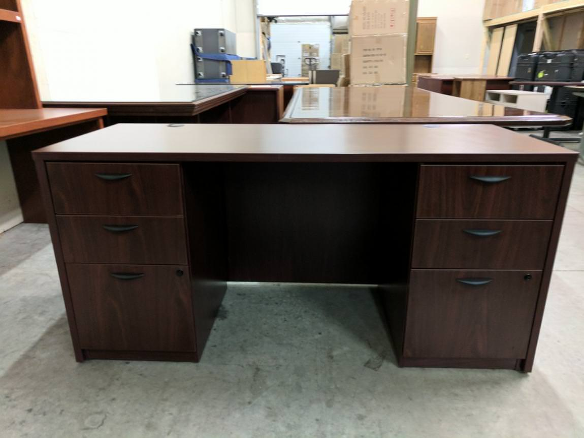 Desks With Drawers Basyx Mahogany Credenza Desk With Drawers Madison Liquidators