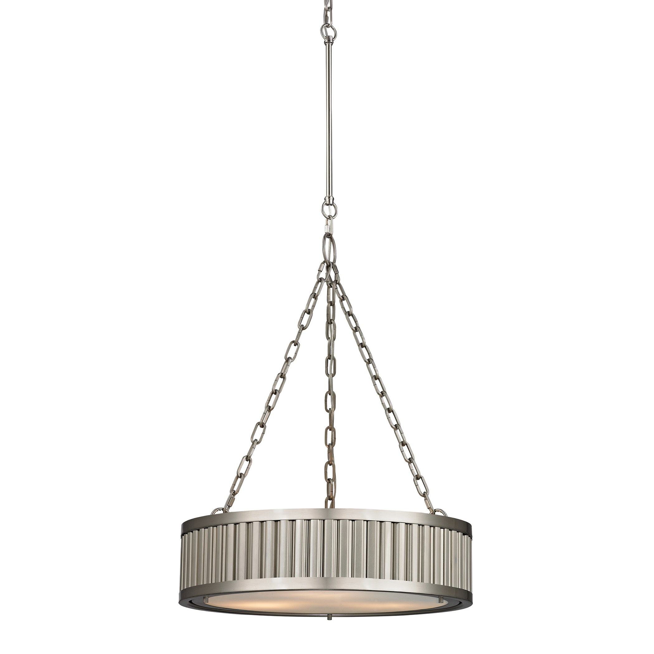 Pendant Lighting Brushed Nickel Linden Collection 3 Light Pendant In Brushed Nickel By Elk