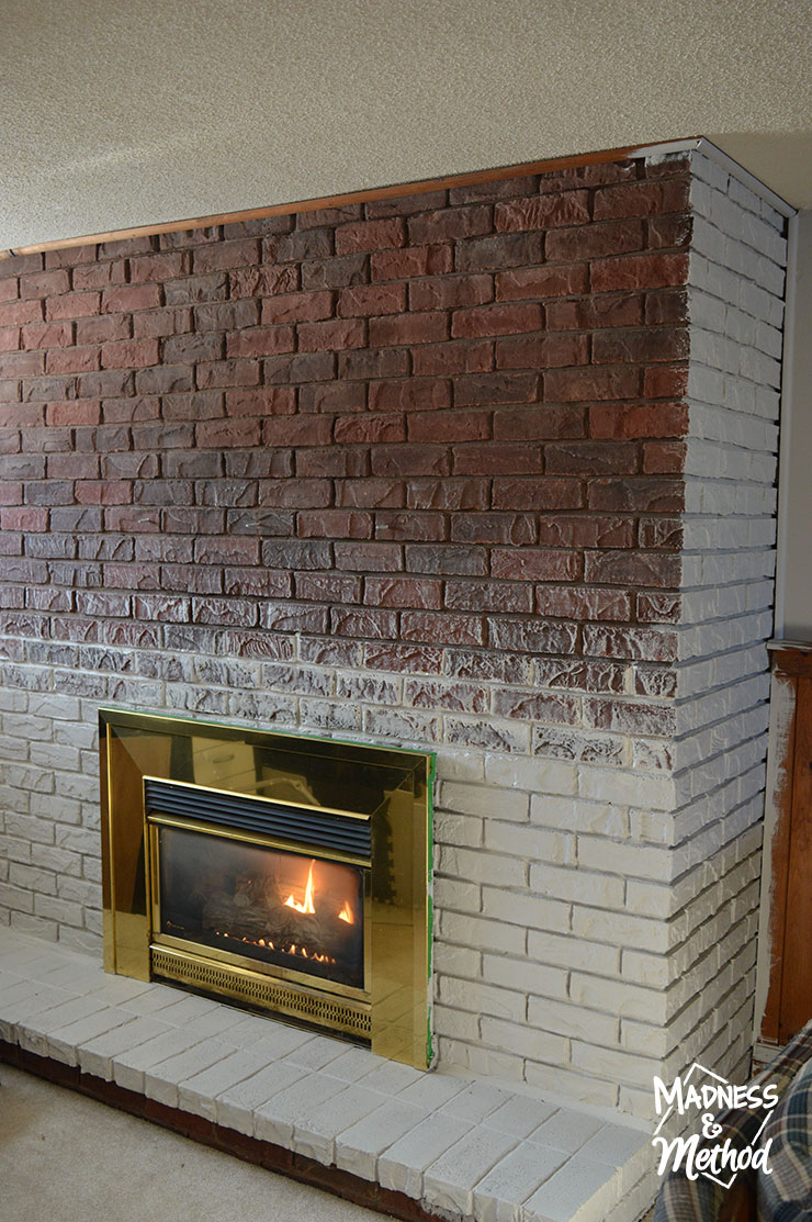 Update Old Brick Fireplace Dry Brush Bricks Fireplace Makeover Madness Method