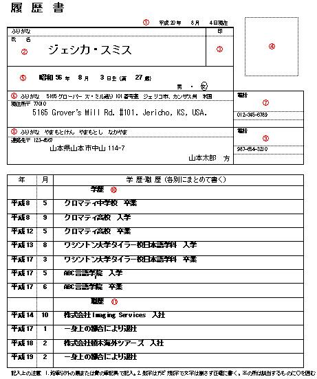 japanese resume sample word