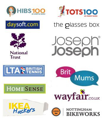 Logos of all of the companies Maflingo has worked with or featured on: HIBS100, TOTS100, Daysoft, The Glasses Box, National Trust, Lawn Tennis Association, Joseph Joseph, BritMums, Homesense, Wayfair, IkeaHackers, Nottingham Bikeworks