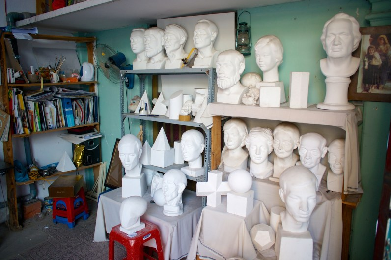 They have a large assortment of plaster heads to practice your skill of observation and the study of form and cast shadow.