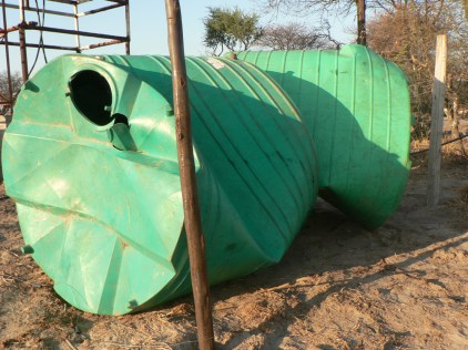 Damaged water tanks. Water for Elephants Trust, Botswana