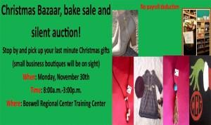 Christmas Bazaar, bake sale and silent auction!