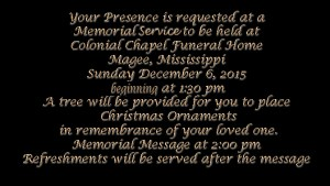 Colonial Funeral Home Memorial Service