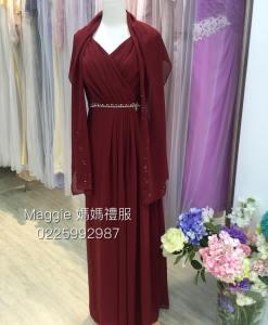 媽媽禮服,暗紅雪紡,水鑽腰帶晚禮服
