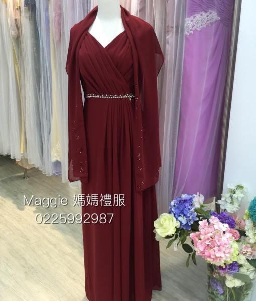 [媽媽禮服]暗紅雪紡水鑽腰帶禮服MS82