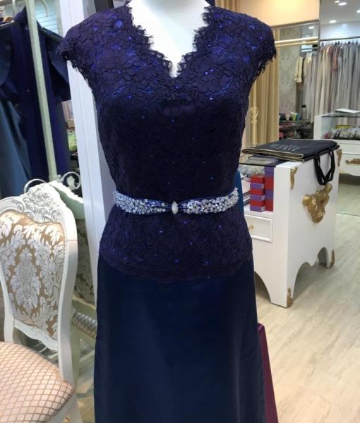 MA17媽媽禮服深藍色蕾絲緞面禮服