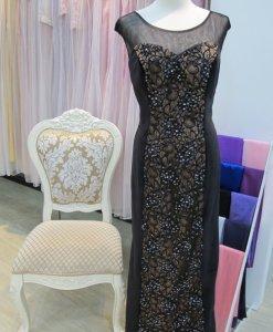 媽媽禮服,黑絨,金底蕾絲,亮片禮服