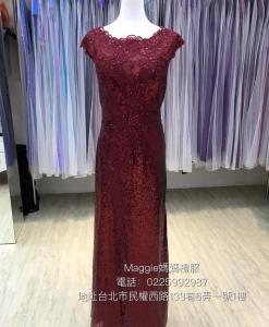 台北媽媽禮服出租, MB01經典,暗紅色,魚尾,亮片,禮服