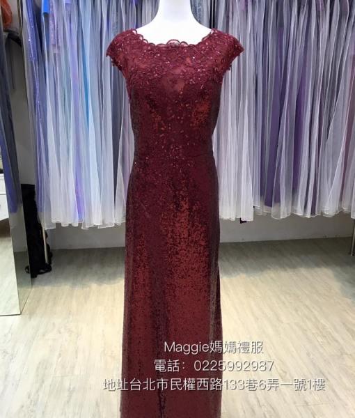 [台北媽媽禮服出租]MB01經典暗紅色魚尾亮片禮服