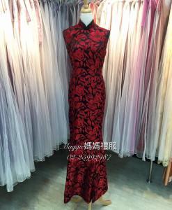媽媽禮服,MS85, 黑底,不規則,紅花,絲緞,魚尾,立領,復古旗袍,