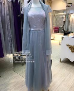 媽媽禮服,銀色,蕾絲,公主袖,A-line