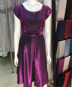 媽媽禮服,圓領,亮紫,緞面,水鑽小禮服