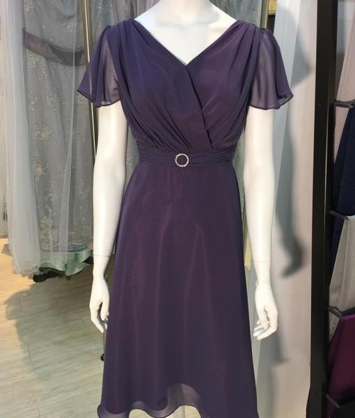 [媽媽禮服]MS01紫羅蘭羅馬領雪紡紗荷葉邊袖短洋裝
