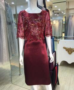 媽媽禮服,玫瑰紅,刺繡,牡丹花,兩截式,短袖,小禮服