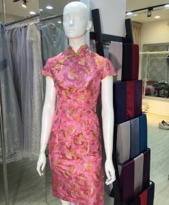 媽媽禮服,粉紅,金花,刺繡,短旗袍