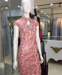 媽媽禮服,水滴領,粉色,繡花,短旗袍
