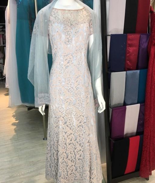 [媽媽禮服]MB-06優雅粉膚色蕾絲六片長裙晚禮服