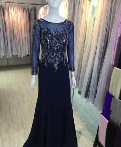 台北媽媽禮服,貴氣藍鑽手工串珠長袖晚禮服