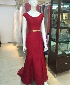媽媽禮服,紅色,寬圓領,卡肩,蕾絲緹花布,晚禮服