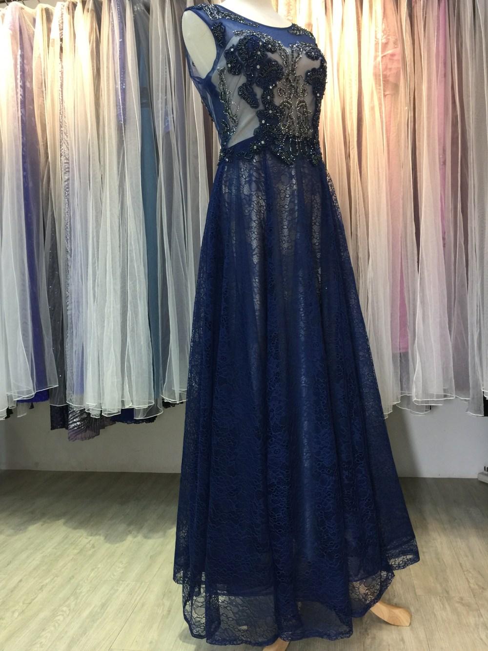 台北媽媽禮服,寶藍色,水晶,串珠,上下雙層,晚禮服