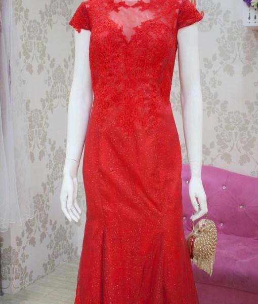 [媽媽禮服]台北媽媽禮服亮紅色蕾絲晚禮服