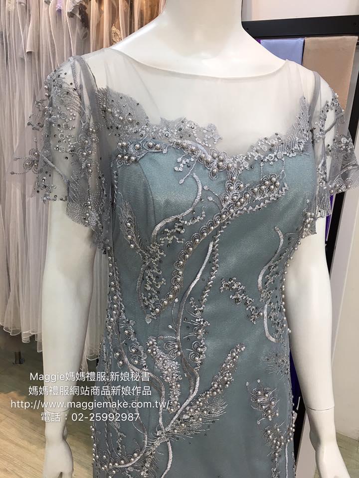 [台北媽媽禮服]MB-31灰藍色蕾絲水袖水鑽珍珠蕾絲氣質高雅晚禮服 (3)