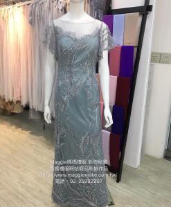 [台北媽媽禮服]MB-31灰藍色蕾絲水袖水鑽珍珠蕾絲氣質高雅晚禮服 (5)