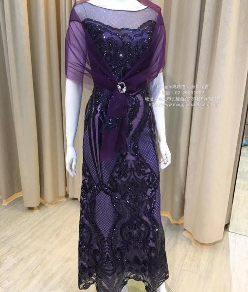 [媽媽禮服]K007紫藍亮片古典圖騰卡肩裸紗晚禮服