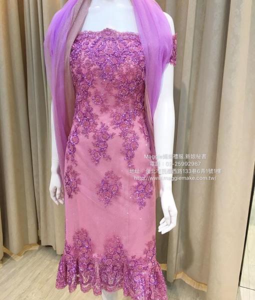 [媽媽禮服]K011亮桃紅手工蕾絲珠工卡肩短版禮服