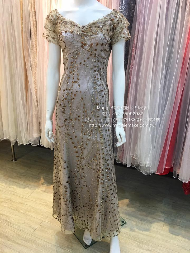 媽媽禮服,可可色,燙金亮粉,卡肩包袖,晚禮服