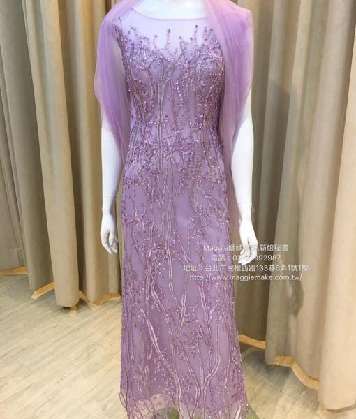 [媽媽禮服]K010藕紫手工不規則串珠蕾絲卡間透紗晚禮服